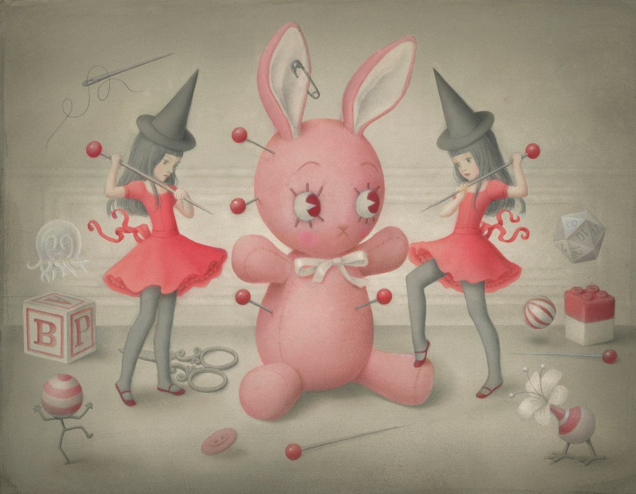 Two witches putting pins in a giant rabbit effigy