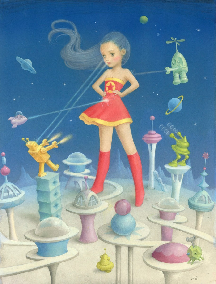 A giant-sized girl, dressed like wonder woman, bored and fighting tiny robots.